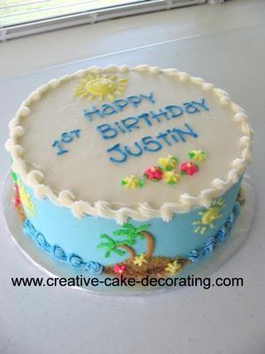 A Hawaii themed 1st birthday cake.