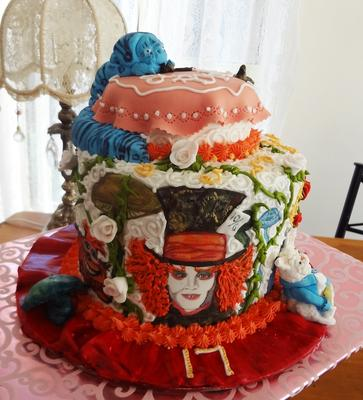 Tiered Alice in Wonderland themed cake