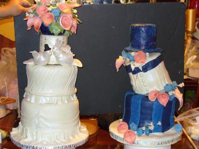 bridal topsy turvy grooms cake