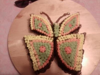 A butterfly shaped 2D cake.