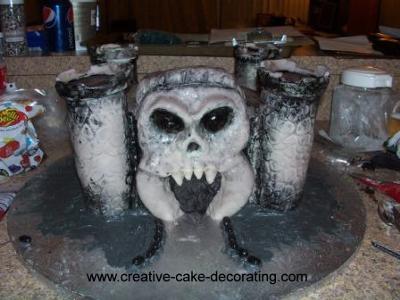 Castle grey skull cake