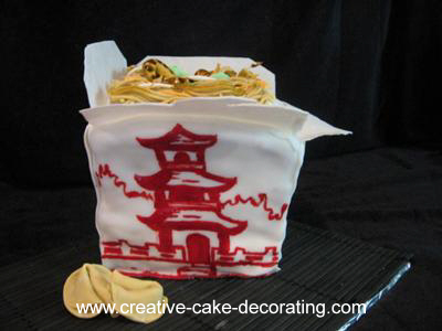 Cake in the shaped of a Chinese take out box