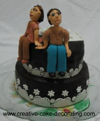 2 Tier chocolate cake with couple cake topper
