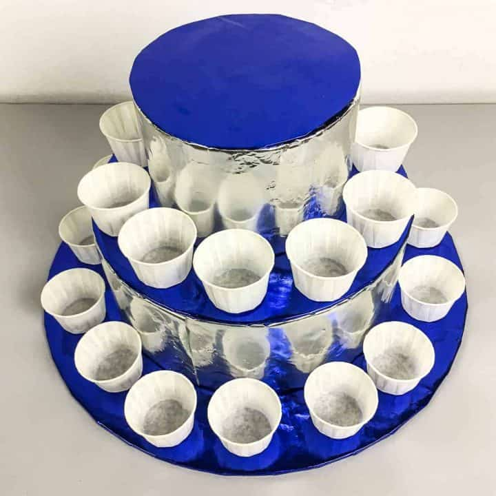 DIY cupcake stand in blue and silver