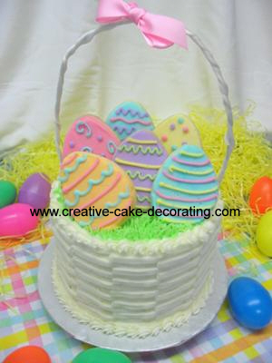 Easter egg cookies in a basket shaped cake