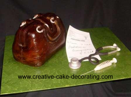 A 3d brown handbag with a white paper note, edible syringe and stethoscope.