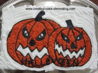Rectangle cake with orange pumpkin design