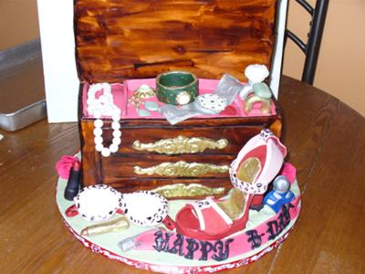 A jewelry box cake in brown