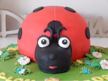 A 3d ladybug shaped cake in red adn black with black polka dots.