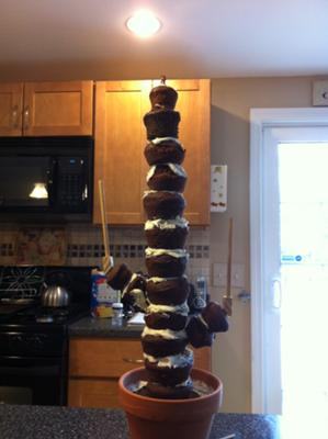 A stall stack of cakes