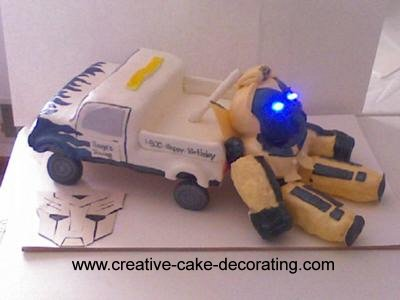 A transformers themed cake