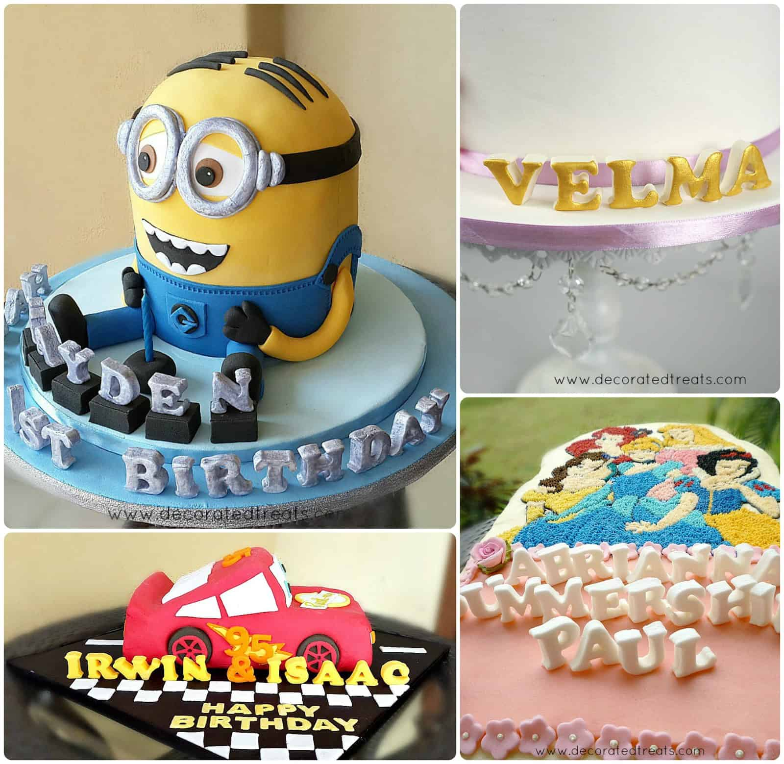Poster showing 4 different cakes with 3d fondant letters decoration