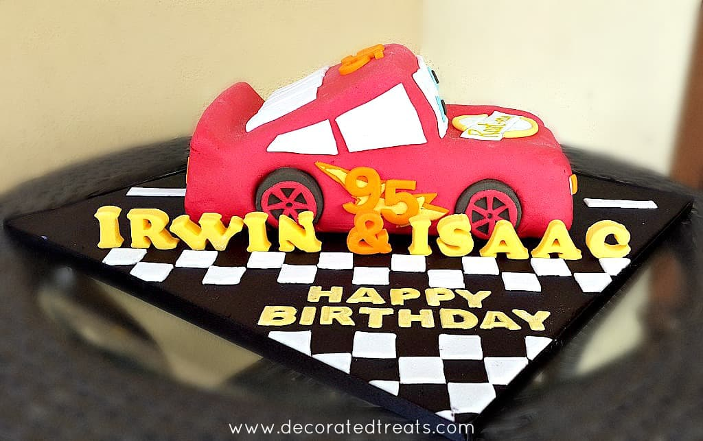 Lightening McQueen cake with 3d fondant lettering
