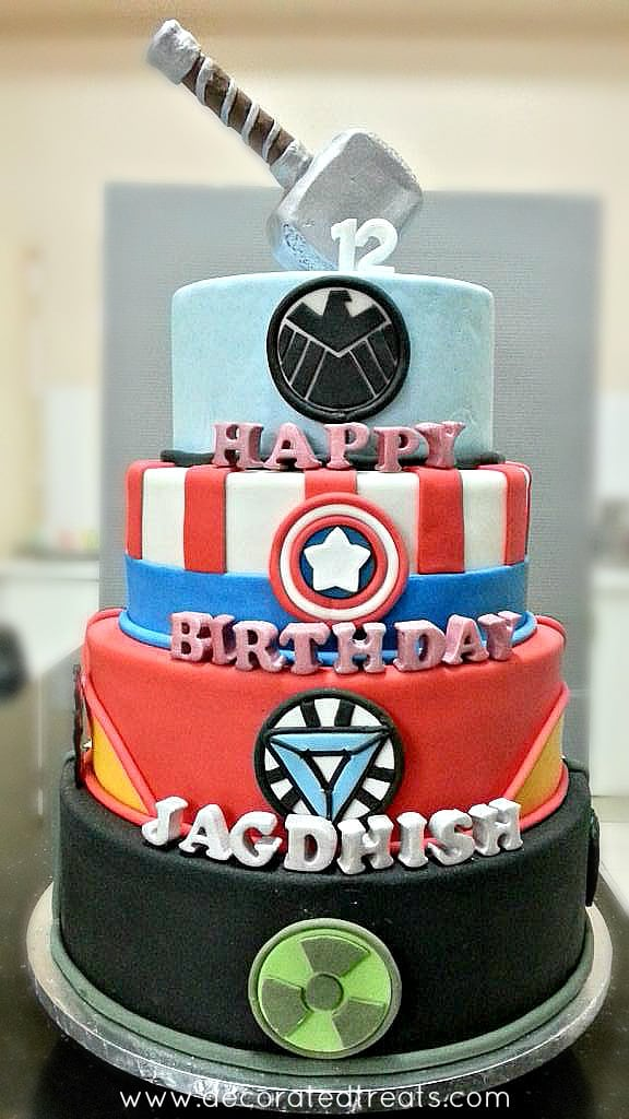 Marvel Superheroes cake with 3D fondant letters
