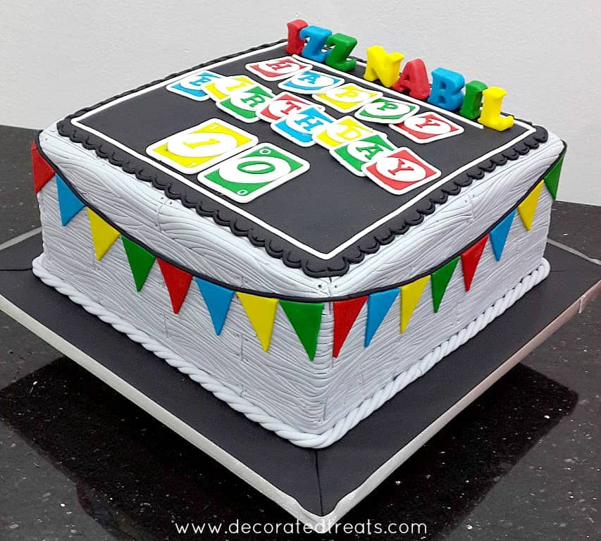Uno Cake with 3D fondant letters