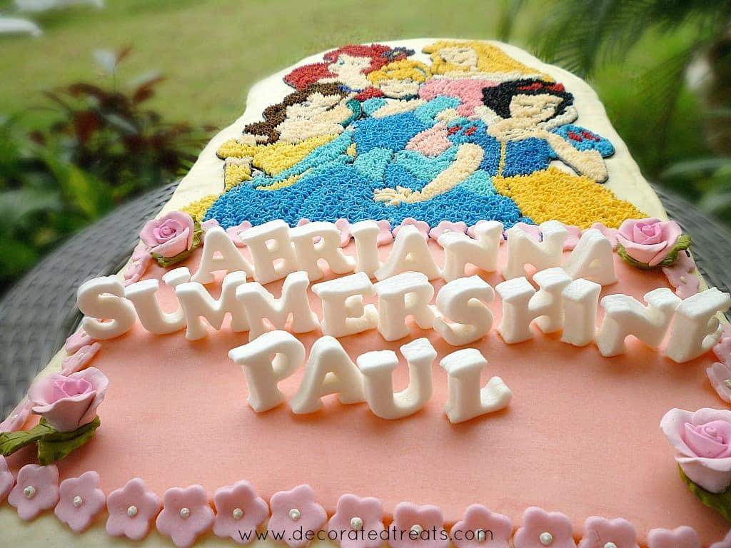 Disney princess cake with 3D fondant letters