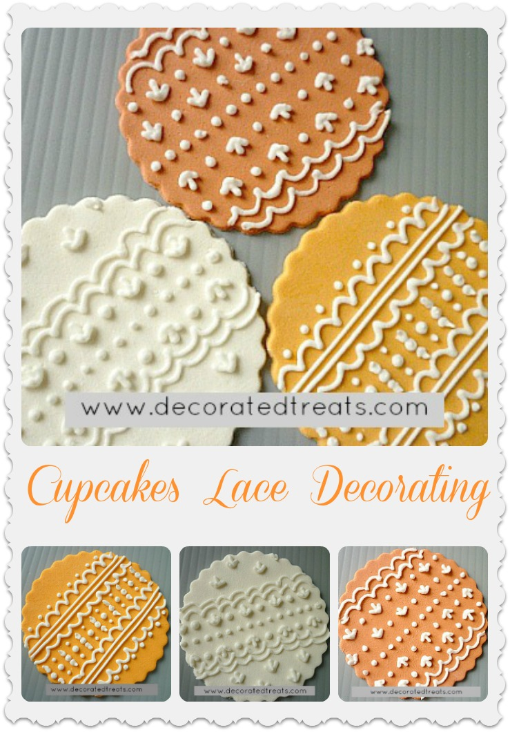 Cupcake lace toppers in orange, amber and white