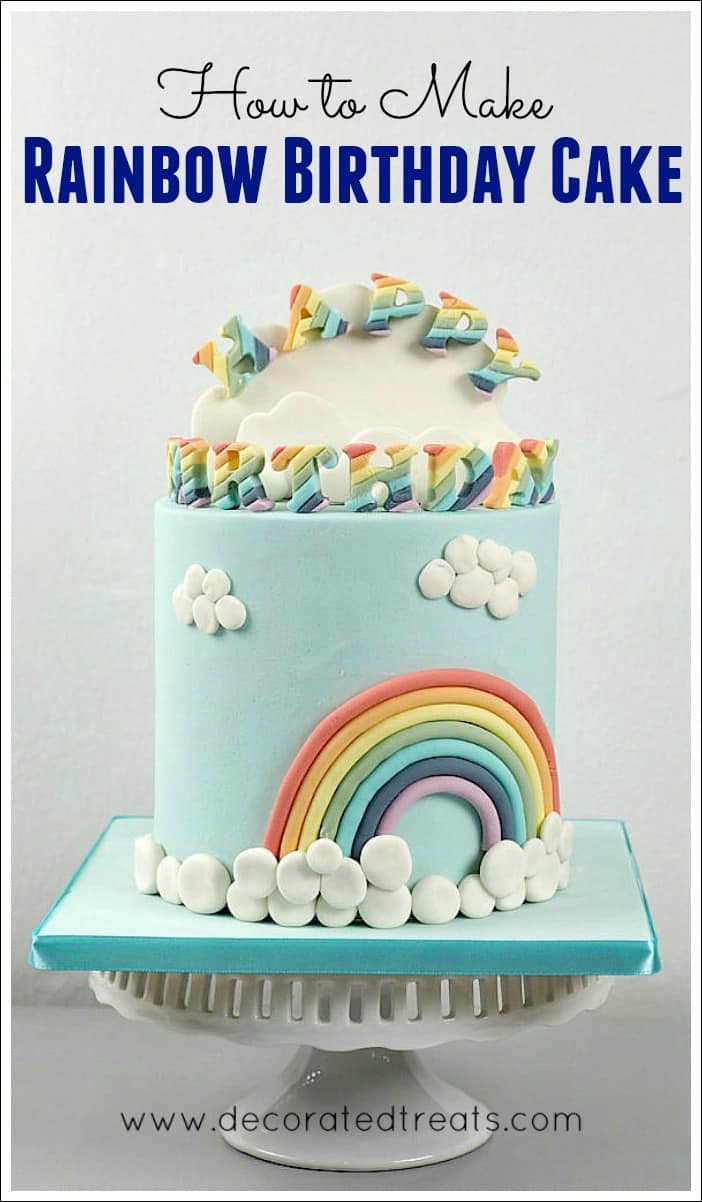 A round rainbow themed cake