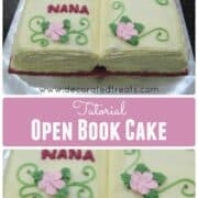 A cake in the shape of an open book with pink flowers and green leaves and scrolls