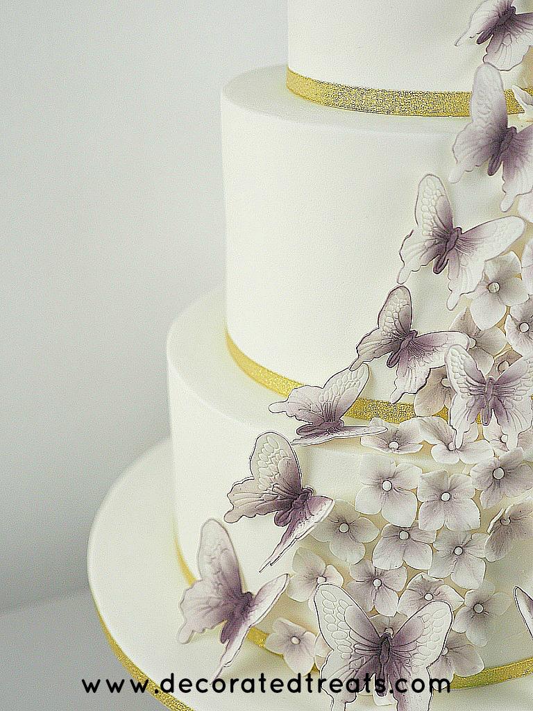Butterflies and hydrangeas tiered cake