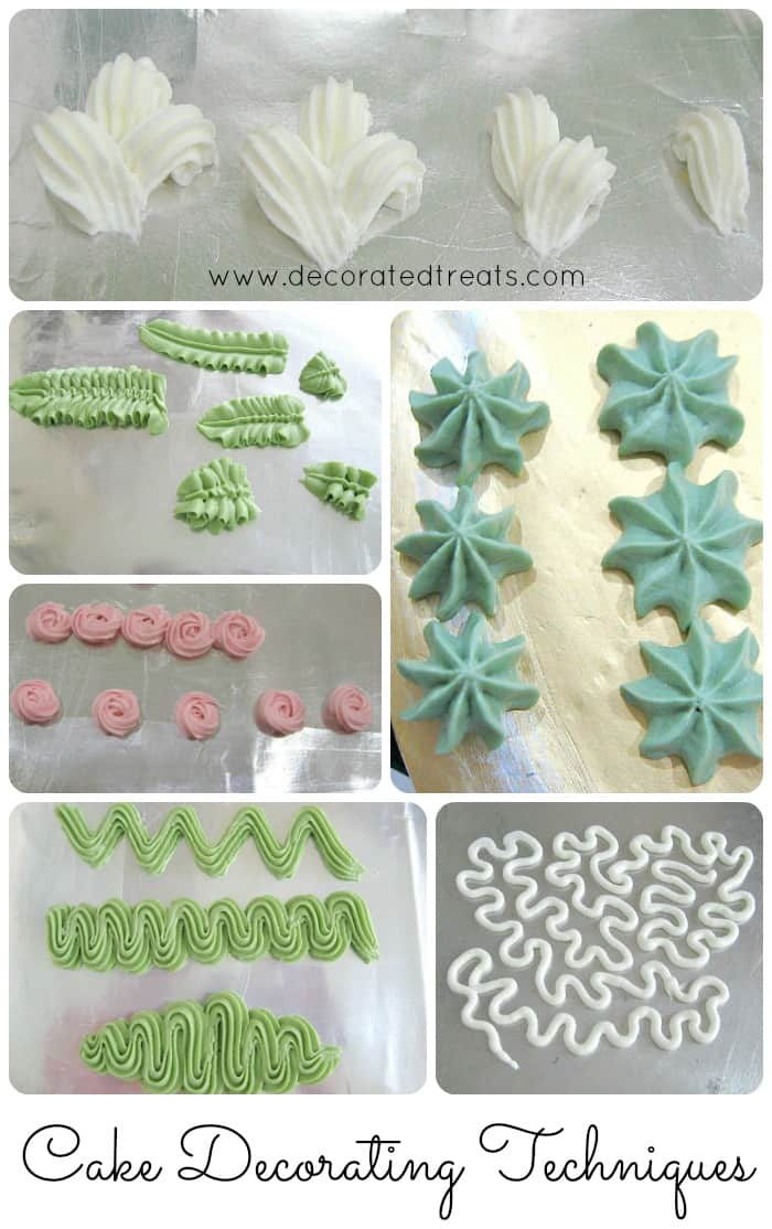 Piped buttercream patterns in white, green and pink