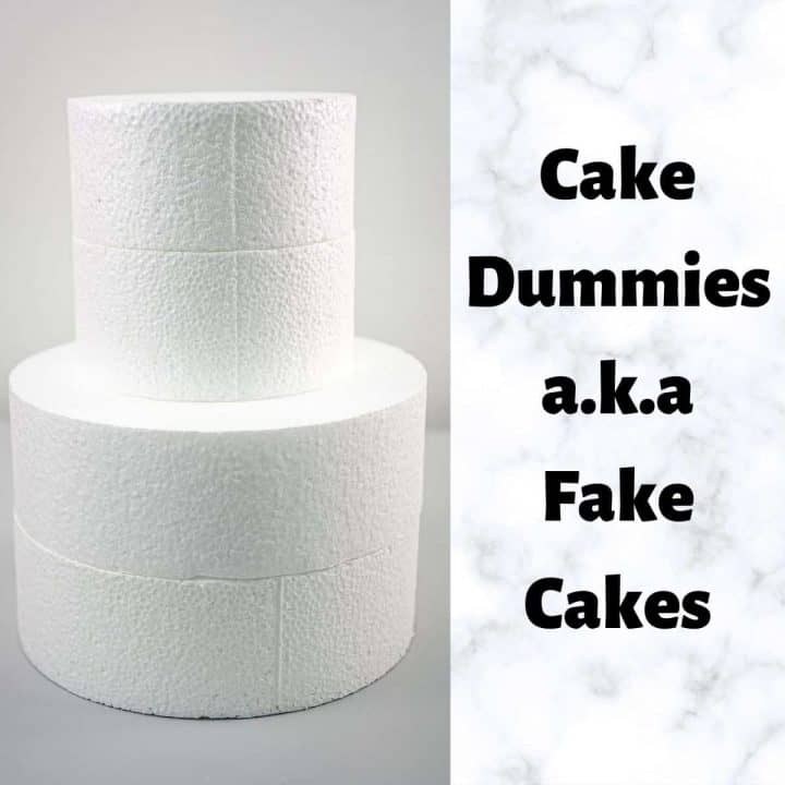 Cake dummies stacked to form a 2 tier fake cake