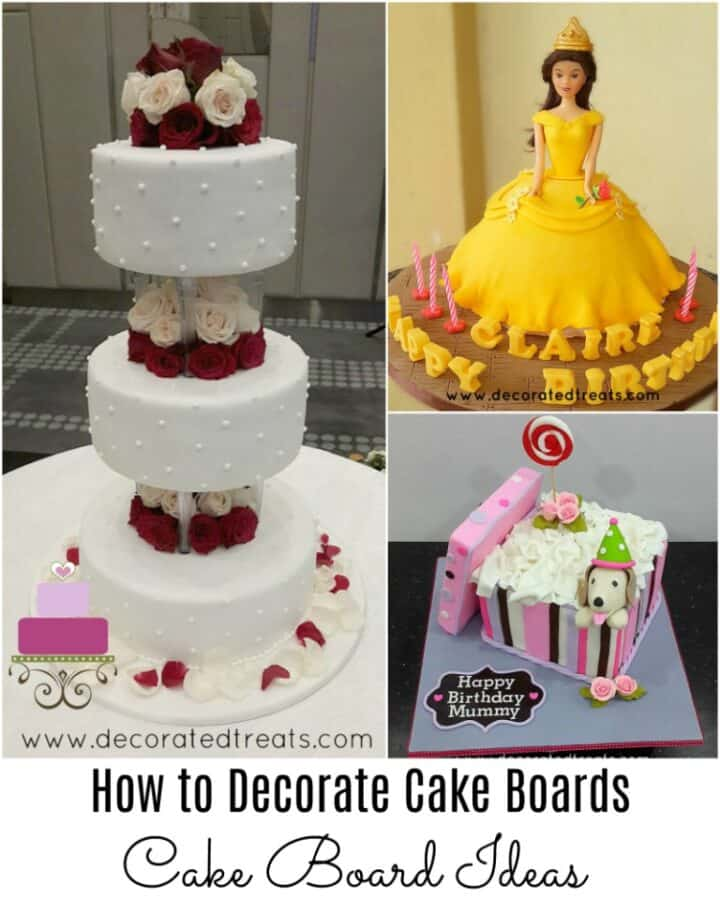 Poster for cake board ideas with 3 cakes in the background