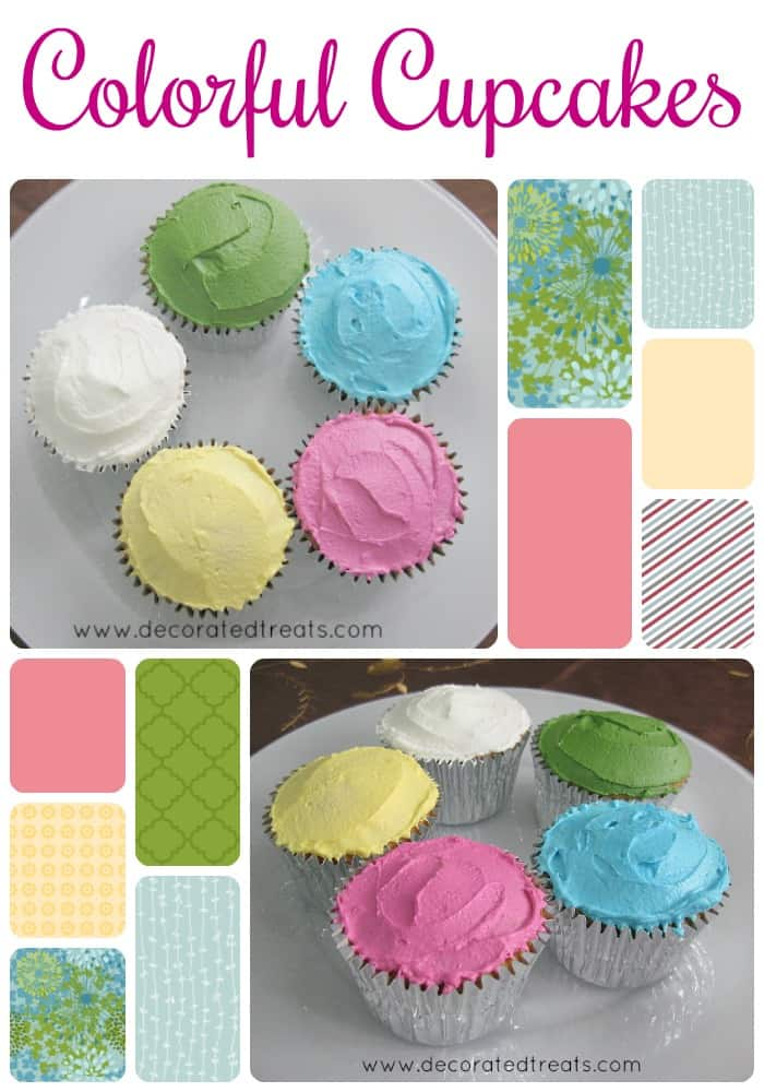 A poster for colorful cupcakes decorated in pink, white, green, yellow and blue