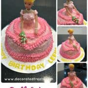 Poster for a doll cake in pink buttercream gown