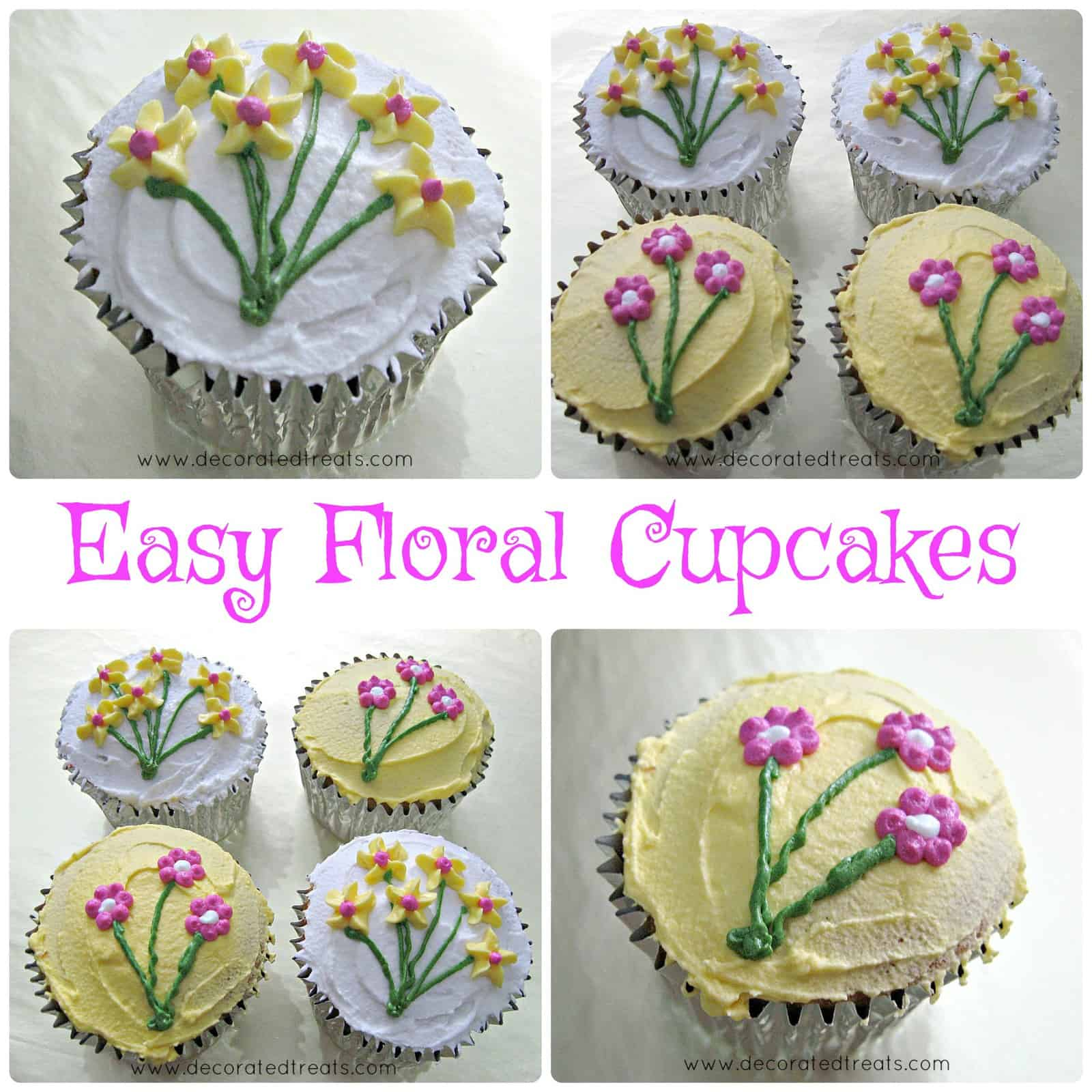 Poster for easy cupcakes with simple floral design