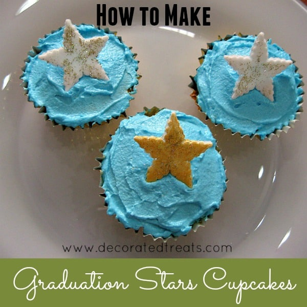 3 cupcakes covered in blue icing and white and gold stars