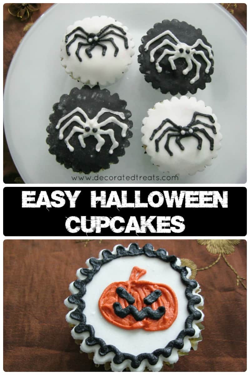 Poster for easy halloween cupcakes with spiders and pumpkin design