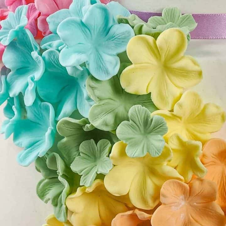Colorful sugar flowers on a cake