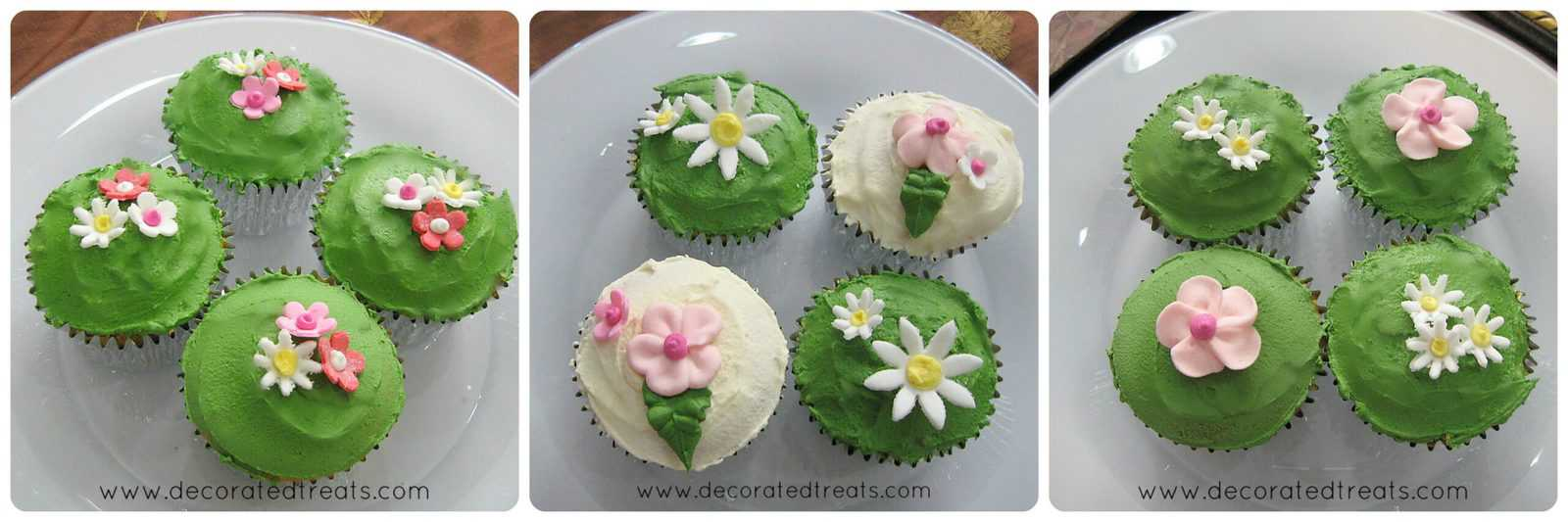 3 sets of cupcakes covered in green icing and decorated in floral design