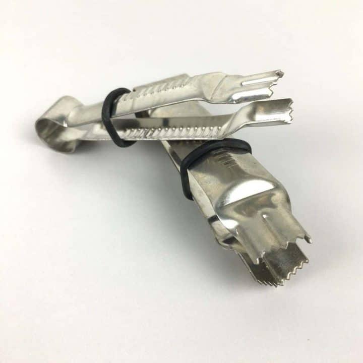 A set of silver fondant crimping tools