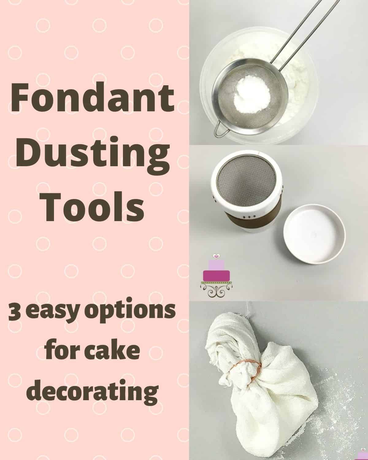 Poster for dusting tools showing a sieve with icing sugar, an icing sugar shaker and a cloth pouch tied with rubber band