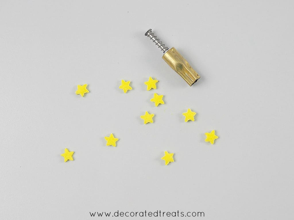 Tiny yellow fondant stars and a stars plunger cutter