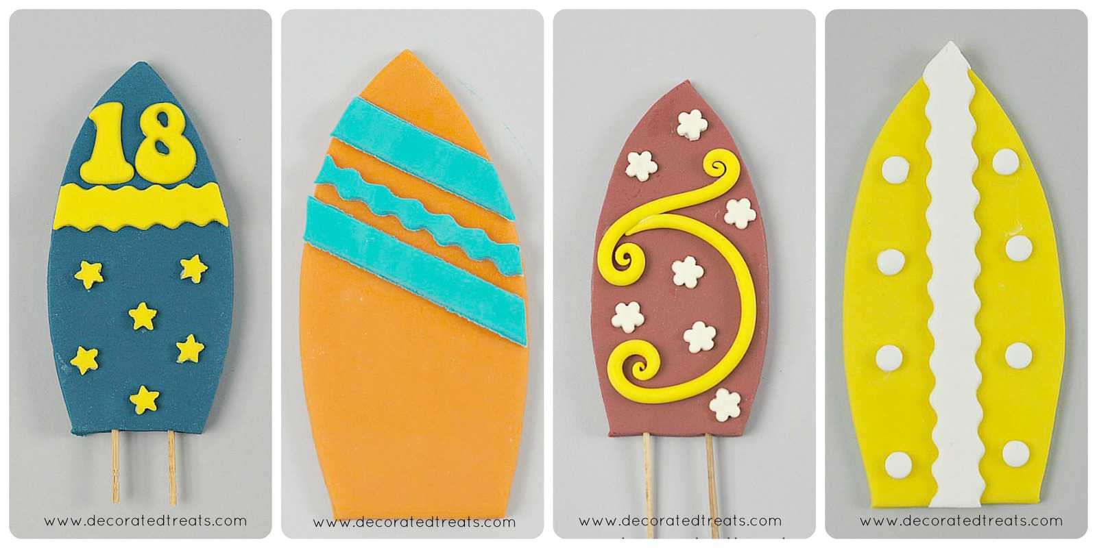 Fondant surfboards in orange and maroon