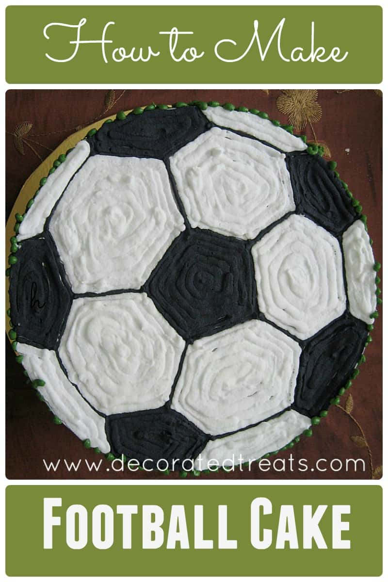 Poster for a football cake showing the top of a cake decorated in black and white like a ball