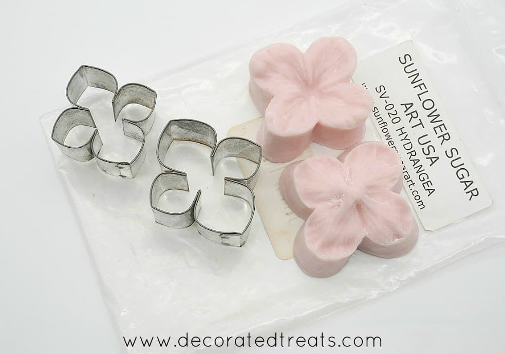 Hydrangea petal cutters and silicone molds