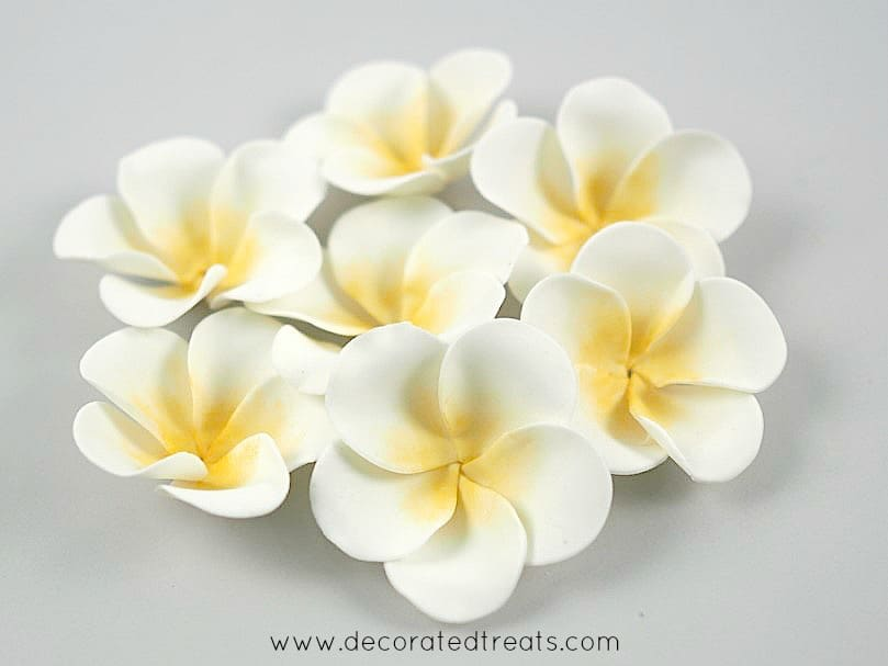 Gum paste plumeria with yellow centers grouped together
