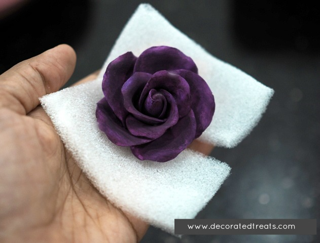 A purple gum paste rose held in hand with a sponge
