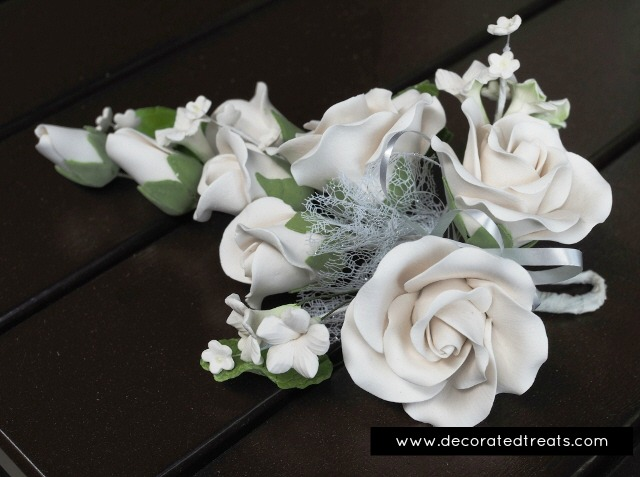 White gum paste roses in a bouquet