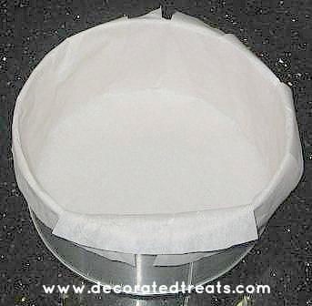 A round cake tin line with parchment paper