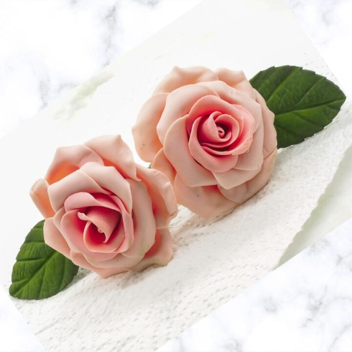 2 pink gum paste roses against a marble background