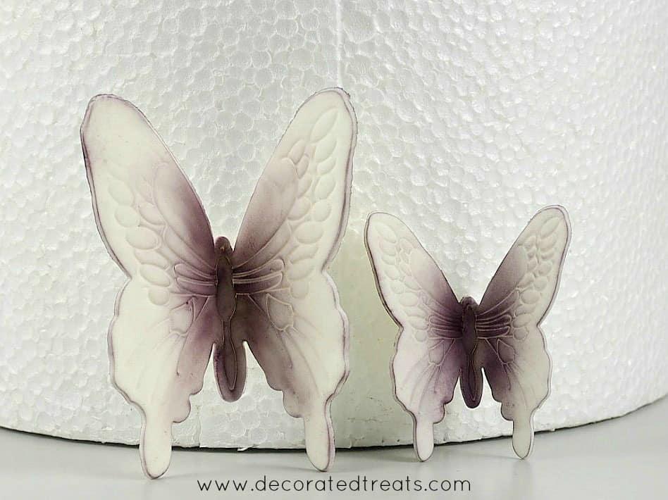 Gum paste violet butterflies