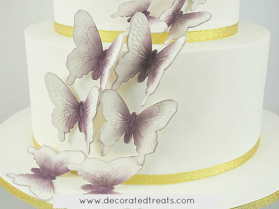 Gum paste butterfly cake decorations on a white cake