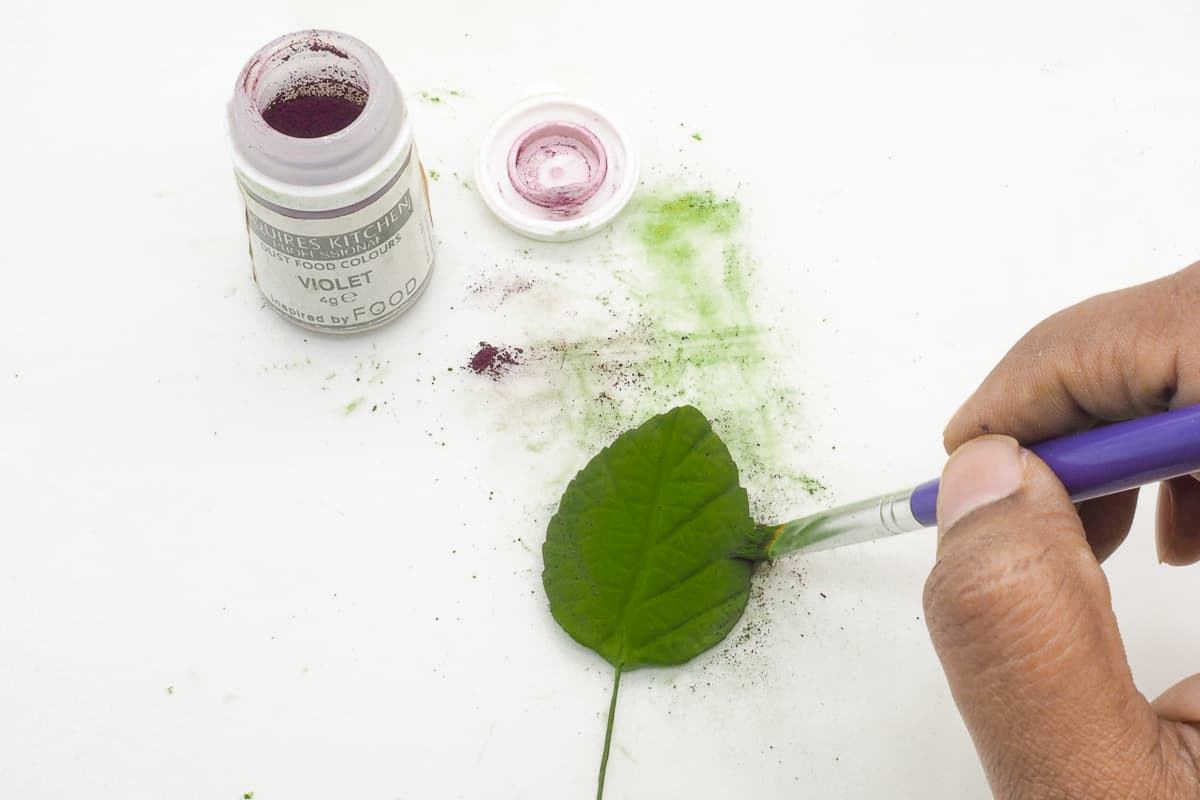 Dusting a leaf with green petal dust and a small brush