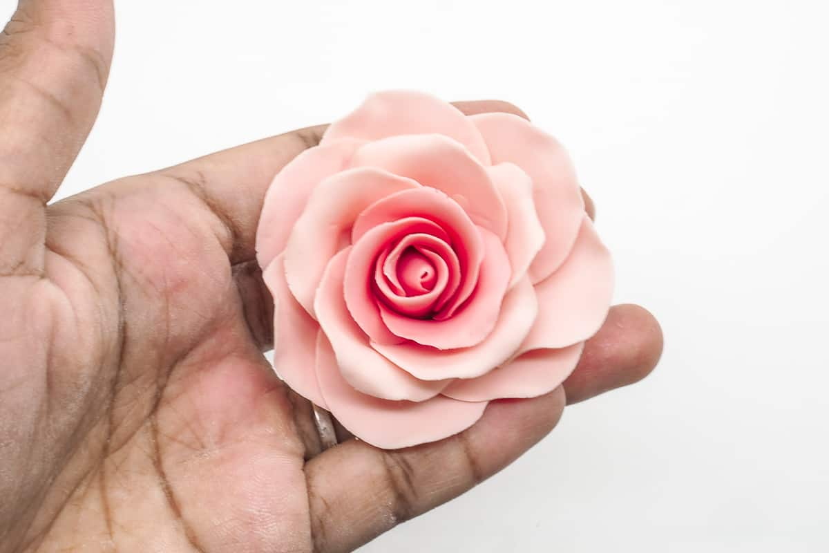 Gum paste rose on a palm of a hand