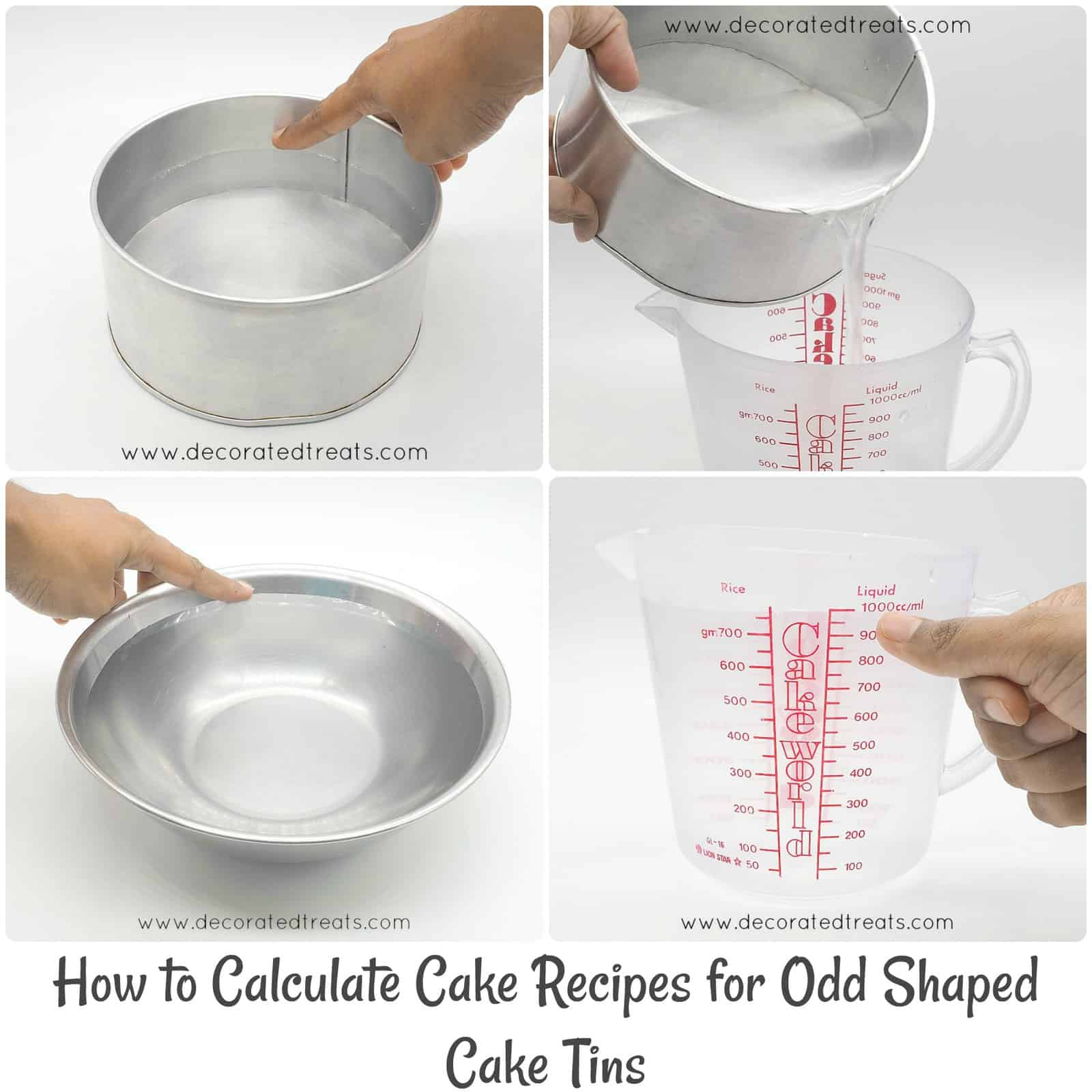 Poster on how to calculate cake recipes with images of cake tins and measuring jugs